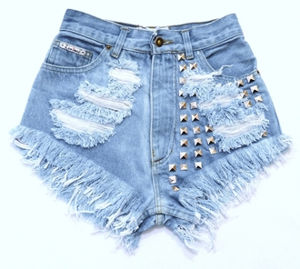 shorts jeans studded shorts acid wash light blue denim high waisted high heels top sweater underwear dress