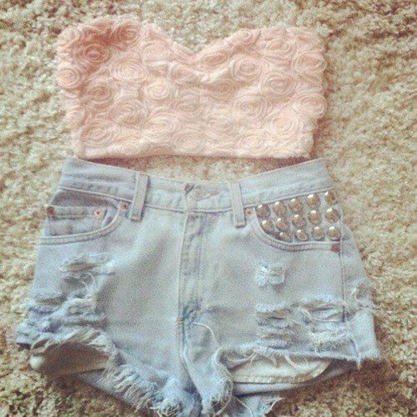 shorts ripped shorts denim shorts bandeau High waisted shorts crop tops shirt