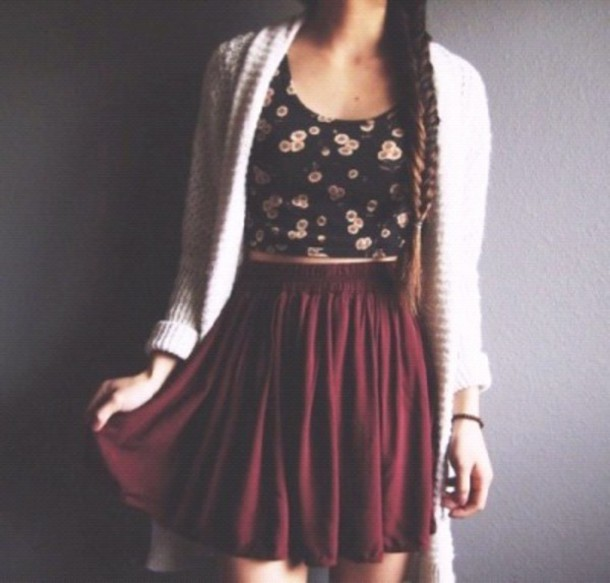 skirt blouse cardigan top stomach print shirt trendy flowers black crop tops burgundy skirt flowy elastic waist cute spring satin fashion jupe mi-longue burgundy loose red medium length skirt