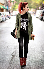 le happy,jeans,t-shirt,army green jacket,cardigan,jacket,off green colour,pants,black,shirt,red boots,black jeans,edgy,grunge t-shirt,grunge shoes,grunge wishlist,grunge