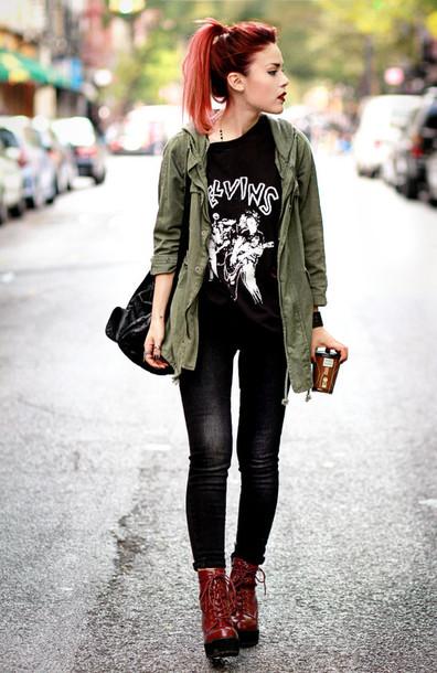 le happy jeans t-shirt army green jacket cardigan jacket off green colour pants black shirt red boots black jeans edgy grunge t-shirt grunge shoes grunge wishlist grunge