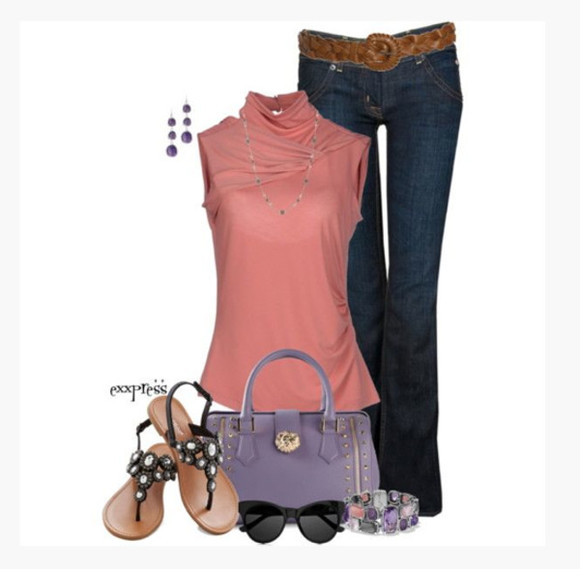 shoes blouse top coral sleeveless turtle neck high neck cross over cross over top ruched bag purse purple purple purse lavender purse flats sandals sunglasses bracelets pant jeans earrings clothes outfit