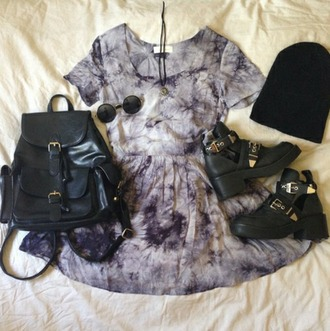 dress grunge indie hipster hippie shirt sun sunglass sunglasses shoes bag necklace jewels cut out ankle boots tie dye