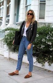 shoes,leather jacket,boyfriend jeans,animal print mules,blogger,white t-shirt,sunglasses
