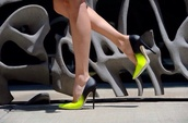 shoes,heels,pumps,neon,neon yellow,black heels