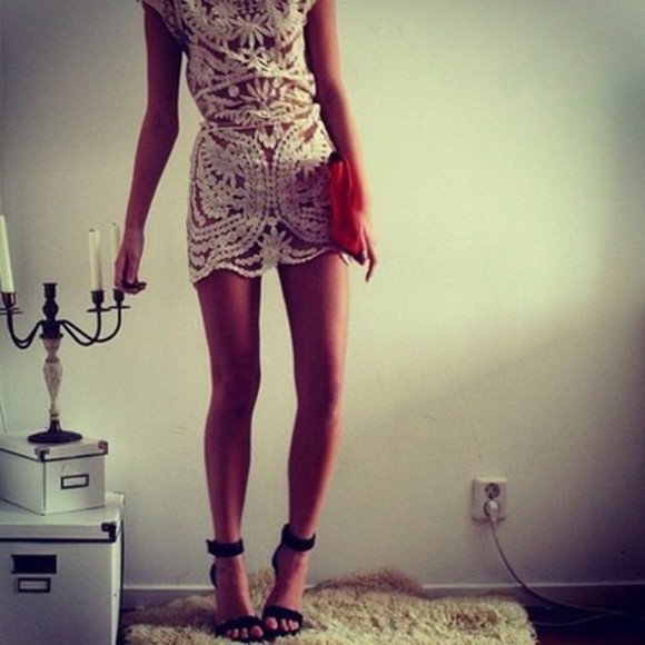 dress white white dress lace dress white lace dress rumper playsuit short party dresses see trough clutch see trough