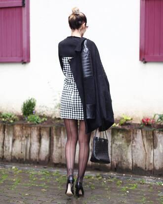 dress tumblr mini dress checkered printed dress coat black coat tights pumps pointed toe pumps high heel pumps black heels bag black bag