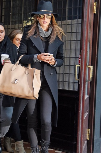 coat trench coat womens coat alessandra ambrosio style chic fedora fashion boots black stunning