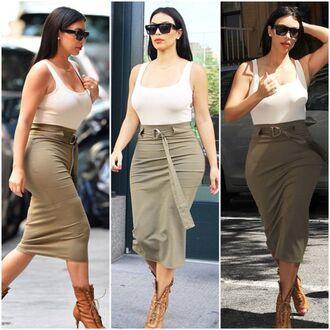 shoes kim kardashian skirt olive green bodycon white crop tops top