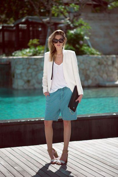 jacket blazer white blazer top pants shoes sunglasses bag