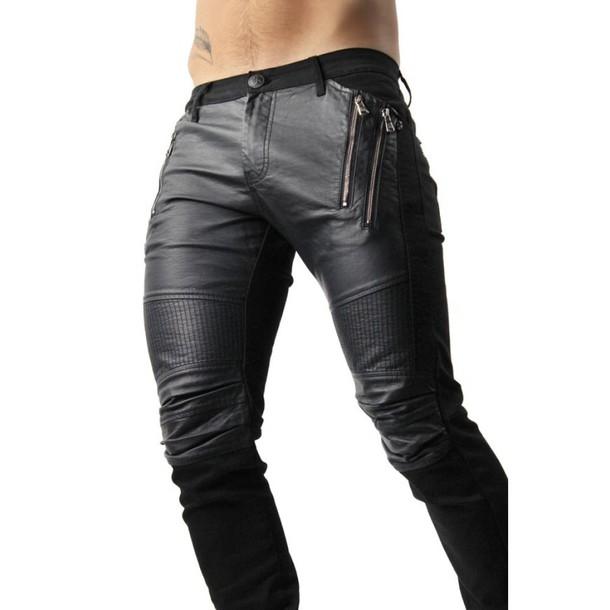 e5025459 jeans black biker jeans biker jeans with leather panels designer jeans for  men fashion clothes for