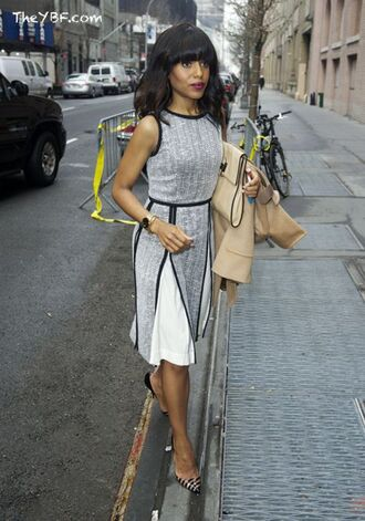 dress striped pumps kerry washington celebrity style celebrity grey dress a line dress slit dress pumps bag nude bag coat nude coat midi dress olivia pope black girls killin it
