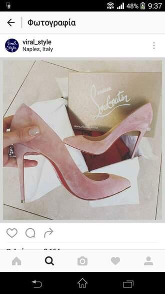 shoes louboutin high heel pumps pink heels