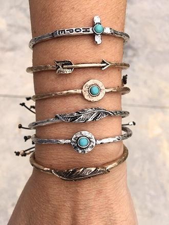 jewels bracelets silver bracelet jewelry boho jewelry boho boho chic bohemian cuff bracelet stacked bracelets gold bracelet arrow feathers