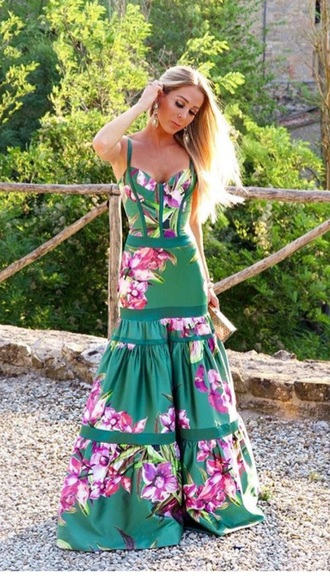 dress summer dress floral maxi dress green dress