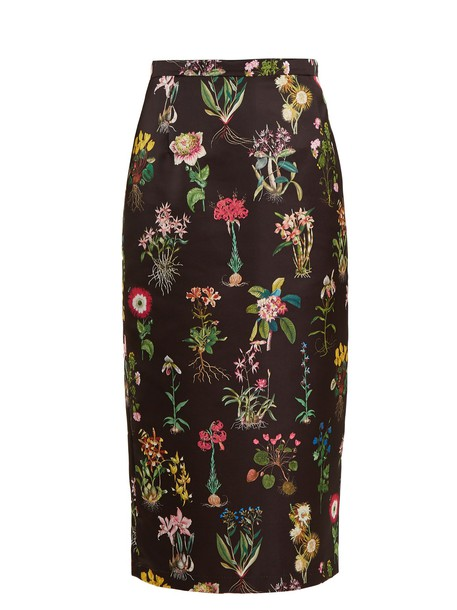 No. 21 skirt pencil skirt print satin black