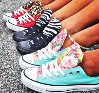 shoes converse allstars zebraprint floral cheetaprint red aqua black lovethis