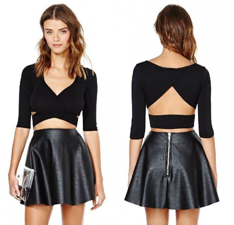 Lady sexy bodycon stretch top bandage cross open back crop t