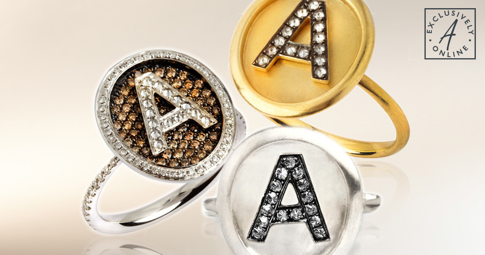 18ct Gold and Diamond Alphabet Rings