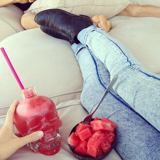 pants jeans stone washed denim shoes skull watermelon print red jewels