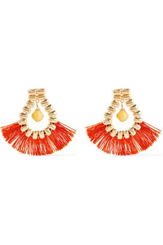 earrings gold orange jewels