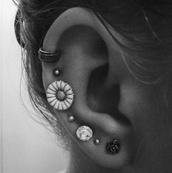 jewels,top one,ear cuff,cuff,piercing,not fake,tribal pattern,underwear,flowers,earrings,ear piercings