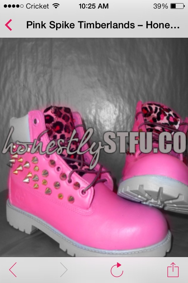 shoes pink studded timberlands