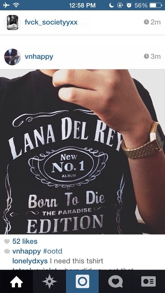 t-shirt black lana del rey jack daniel's