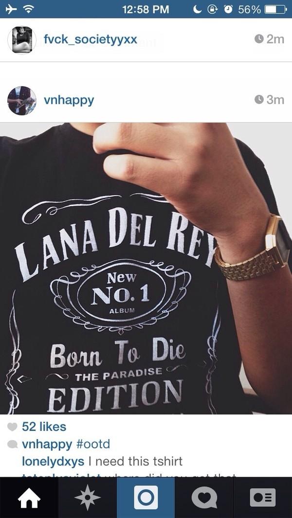 t-shirt black lana del rey jack daniel's t-shirt