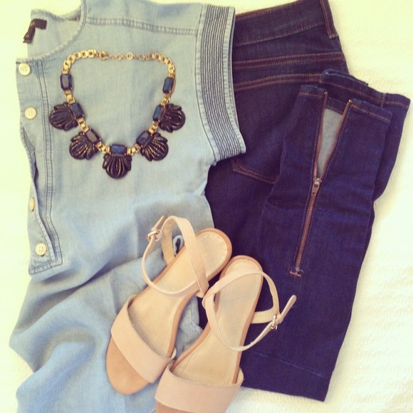 nude shoes t-shirt jeans sandals nude nude sandals blue light blue dark blue denim denim top summer outfits summer outfits spring spring outfit