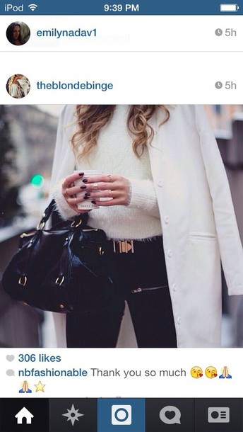 sweater white fur pants bag belt coat