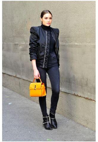 jacket bomber jacket ankle boots purse olivia culpo top jeans bag