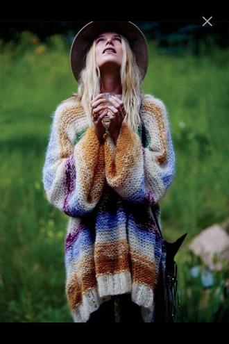 blouse boho oversized knitwear orange wool nature oversized sweater