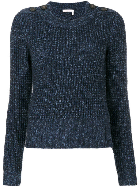 See By Chloé See By Chloé - button shoulder fisherman sweater - women - Cotton/Mohair/Wool - S, Blue, Cotton/Mohair/Wool