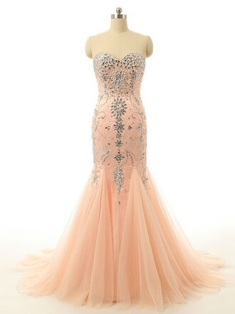 dress fashion style coral tulle dress peach prom elegant gown strapless dressofgirl