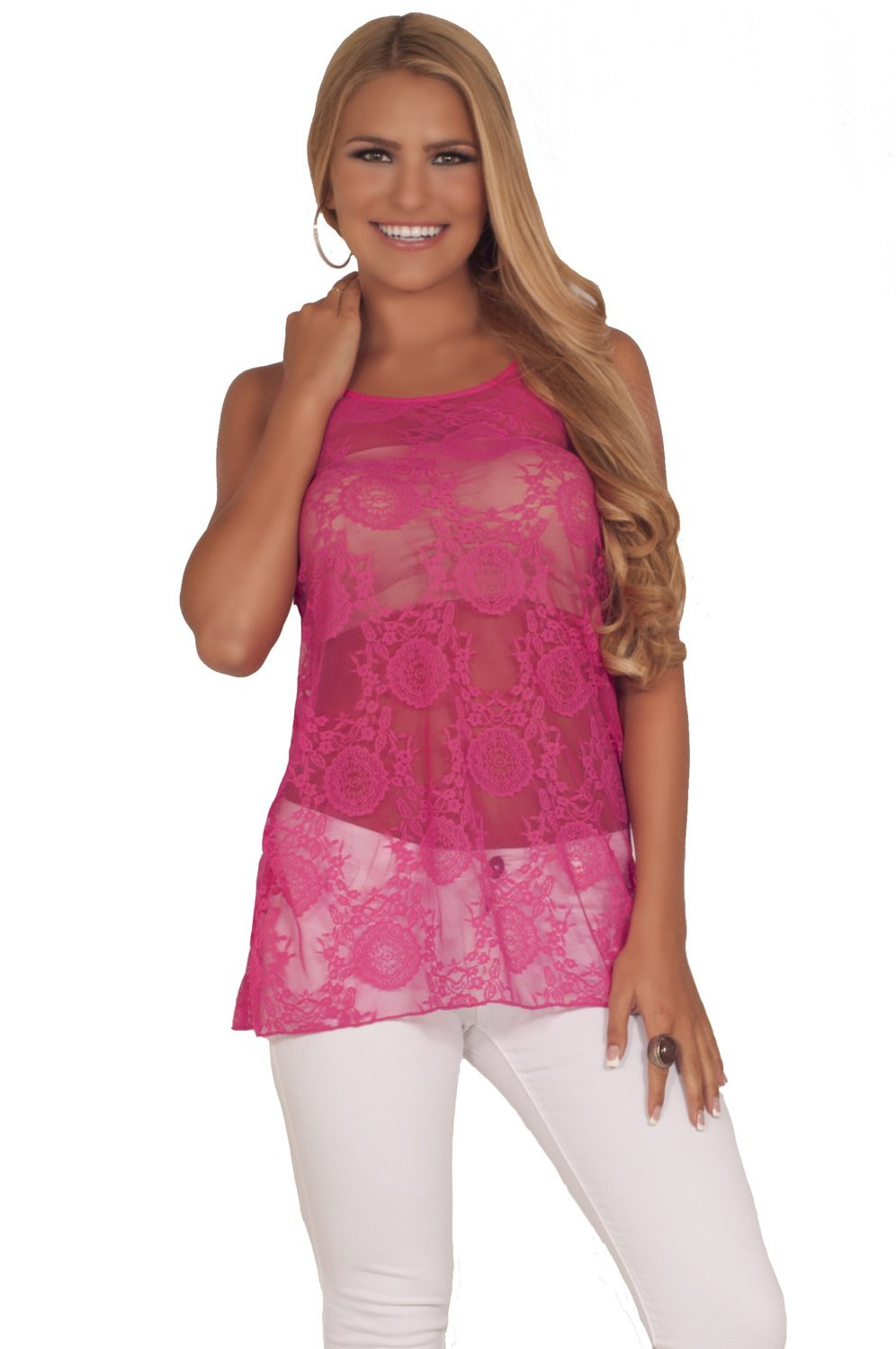 Amazon.com: Flirty Scoop Neck All-Around Floral Design Lace Long Tunic Racer Back Tank Top: Clothing