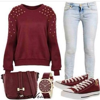 jeans watch bag converse shoes back to school burgundy jewels studs sweater rivets red burgundy sweater purse pants clothes outfit skirt shirt hollister forever 21 rue 21 jewelry blouse maroon studed top