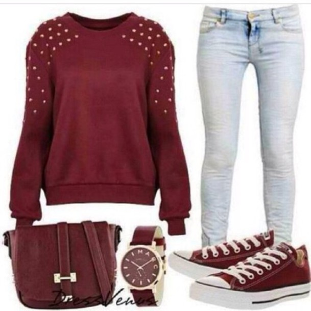 jeans watch bag converse shoes back to school burgundy jewels studs sweater rivets red burgundy sweater purse pants clothes outfit skirt shirt hollister forever 21 rue 21 rue 21 jewelry blouse maroon studed top