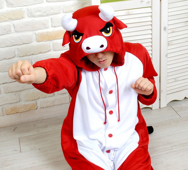 pajamas red bull kigurumi animal onesies