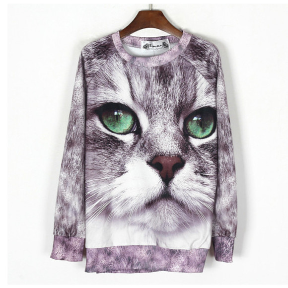 sweater cat sweater cats holypink grey printed sweater