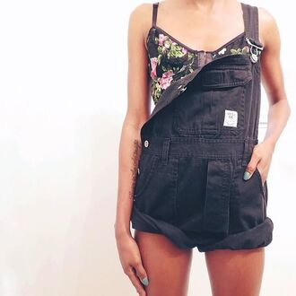 jumpsuit black overalls pinterest hot roll-up denim short style one piece singlet