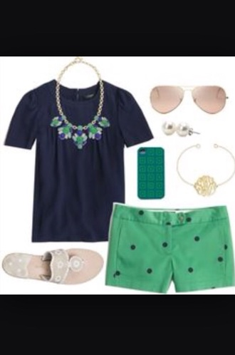 shorts polka dots summer shorts simply southern southern navy green necklace preppy preppy white girl tumblr