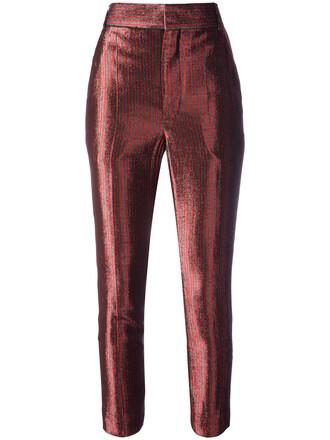 cropped gun women silk wool red pants