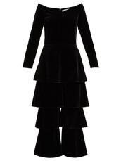 jumpsuit,velvet,black