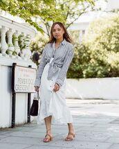 shirt,tie shirt,dress,white dress,shoes,slide shoes,bag