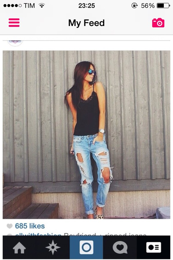 jeans boy-friend jeans strapped shirt boyfriend jeans