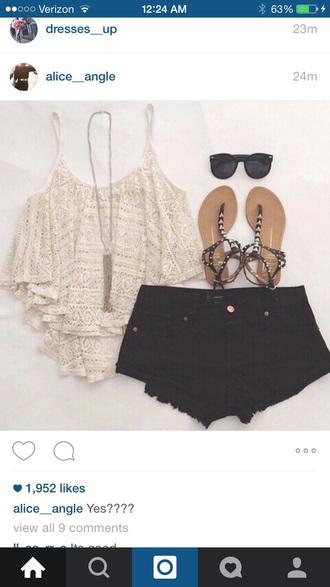 top black white crop tops white t-shirt white lace top lace top mint flounce top aztec crop top black shorts shorts
