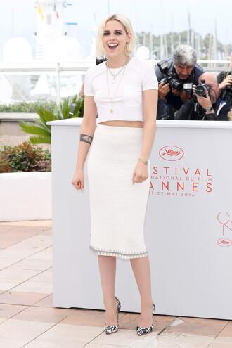 skirt top kristen stewart pumps midi skirt cannes pencil skirt crop tops