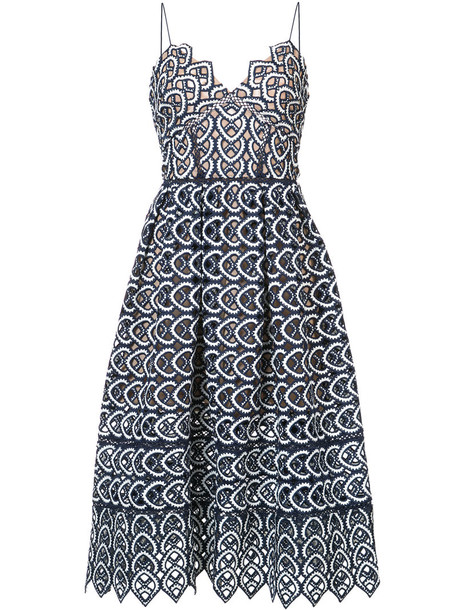self-portrait dress midi dress embroidered women midi spandex