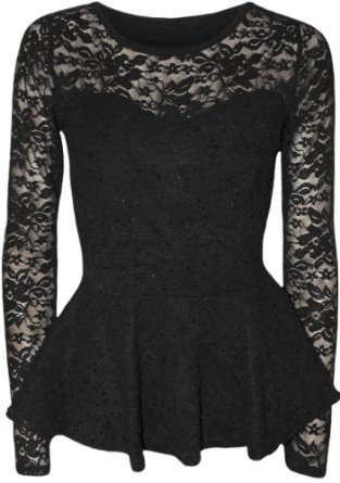 Papermoon women's lace bodycon peplum top at amazon women's clothing store: fashion t shirts